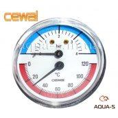 Термоманометр для опалення фронтальний 4 бар 120°C CEWAL 80 мм