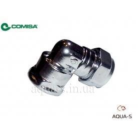 """Куточок хромований обжимний Comisa для труб з міді і сталі 15x1/2"""" цангово-резьбовий"""