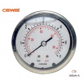 """Манометр гліцериновий антивібраційний CEWAL 6 бар 1/4"""" 63 мм"""