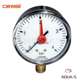 """Манометр для води з індикатором CEWAL вертикальний 4 бар G 1/4"""" 63 мм"""