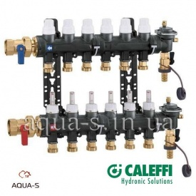 """Коллектор в сборе CALEFFI 6716 композит для систем отопления DN 1"""" 3 выхода 3/4"""" (6716C1)"""