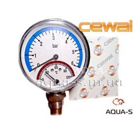 """Термоманометр CEWAL вертикальний 1/2"""" 6 бар 120°C"""