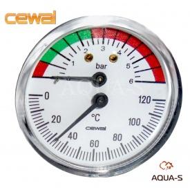 Термоманометр для отопления фронтальный Cewal 6 бар 120°C