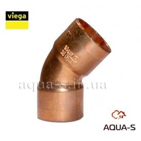 Уголок медный для пайки медного трубопровода двухраструбный 45° DN 15 VIEGA