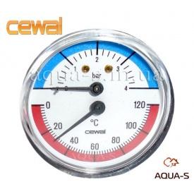 Термоманометр для отопления фронтальный 4 бар 120°C CEWAL 80 мм