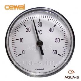 Термометр для отопления фронтальный CEWAL 0-60°С погружной