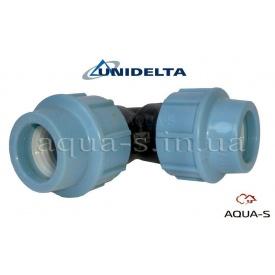 Куточок DN 63x90° Unidelta для поліетиленового трубопроводу