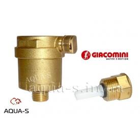 """Повітровідвідник автоматичний для систем опалення з відтинаючим клапаном DN 3/8"""" Giacomini"""