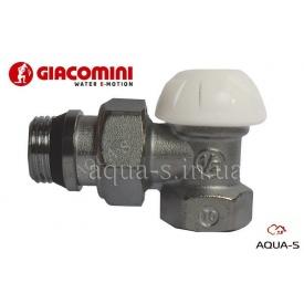 """Клапан запорный настроечный для радиатора на обратку угловой DN 1/2"""" Giacomini"""
