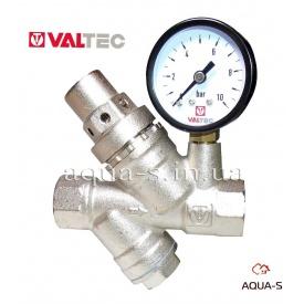 """Редуктор давления для воды VALTEC с фильтром и манометром 3/4"""" (VT.082.N)"""