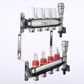 """Коллекторный блок VALTEC из нержавеющей стали со встроенными расходомерами 1"""" 7x3/4"""" евроконус"""