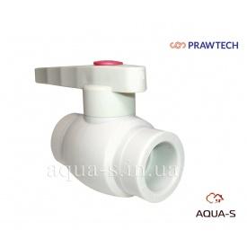 Кран шаровой полипропиленовый Prawtech PPR DN 25 с латунной обоймой