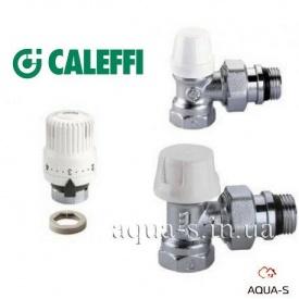 """Радиаторный комплект кранов Caleffi с термоголовкой угловой 1/2"""" (4220402)"""