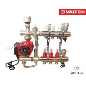 """Коллекторный блок Valtec с насосом и смесительным узлом Valmix на 5 выходов DN 1"""" Valmix 589"""