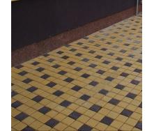 Тротуарная плитка Золотой Мандарин Квадрат малый 100х100х60 мм на сером цементе коричневый