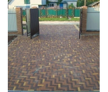 Тротуарная плитка Золотой Мандарин Кирпич узкий 210х70х60 мм на сером цементе коричневый