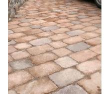 Тротуарная плитка Золотой Мандарин Кирпич Антик 240х160х90 мм на сером цементе коричневый