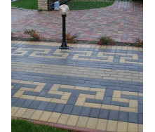 Тротуарная плитка Золотой Мандарин Кирпич стандартный 200х100х80 мм на сером цементе черный