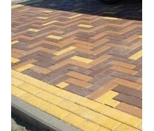 Тротуарная плитка Золотой Мандарин Кирпич узкий 210х70х60 мм на белом цементе желтый