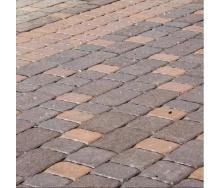 Тротуарная плитка Золотой Мандарин Старая площадь 160х40 мм на сером цементе коричневый