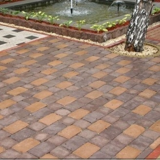 Тротуарная плитка Золотой Мандарин Квадрат Антик 160х160х90 мм полный прокрас коричневый