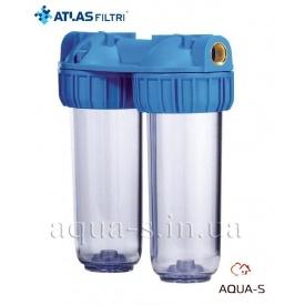 """Фильтр-колбы для холодной воды Atlas Filtri DUPLEX 3P Dn 1"""" 45° 10"""" двойная колба RA112T711"""