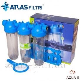 """Фильтр-колбы для холодной воды Atlas Filtri DP TRIO TS Dn 1/2"""" 45° 10"""" тройная колба"""
