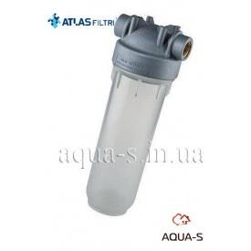 "Фильтр-колба антимикробная Atlas DP MONO Sanic Dn 3/4"" 45° 10"" прозрачная колба"