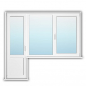 Балконний блок з открывным вікном OpenTeck DeLuxe 1200х1400, 700х2150