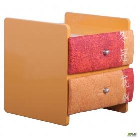 Тумбочка МДФ плівка оранж металік з м'якими фасадами Японія бейдж