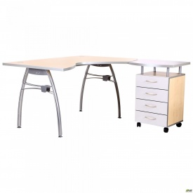Стол с тумбой М90 АртМобил (1400х900/1630х760мм) клен/кромка серый металлик/металлический каркас