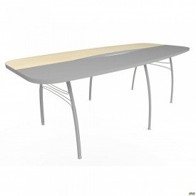Стол конференц М410 АртМобил 2300х1100х760мм клен и серый/кромка серый металлик/металлический кар