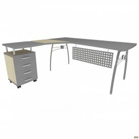 Стол с экраном М 471 АртМобил 830x1670x760 мм клен и серый/кромка серый металлик/металлический карк