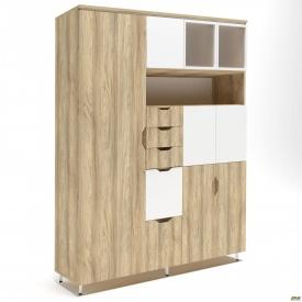 Шкаф комбинированный Delta DL-960 (1665х420х2078мм) Блэквуд Ячменный/Белый супермат/Опора белый беж