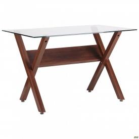 Стол обеденный Maple орех/стекло прозрачное