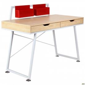 Комп'ютерний стіл Gogol білий+червоний/клен