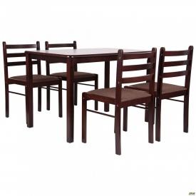 Комплект обеденный Брауни стол+4 стула темный шоколад/эспрессо