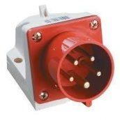 Вилка стаціонарна 525 32A 220-380 B 5 контактов 3P+E+N P44 червона