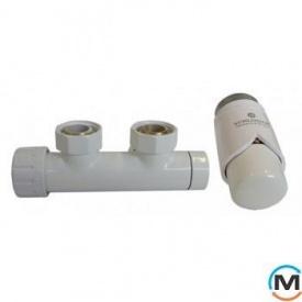 Комплект Schlosser Duo-Plex 3/4 x M 22х1,5 угловой правый белый 2 шт Нипель белый