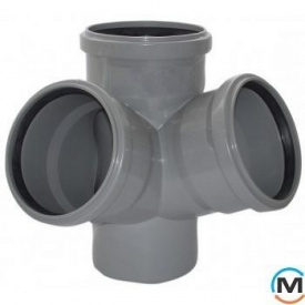 Крестовина канализационная двухплоскостная Valsir 100/100/100 67 градус