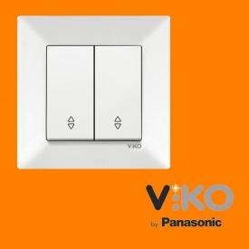Переключатель проходной 2-х клавишный VIKO Meridian белый