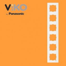 Шестерная вертикальная рамка VIKO Karre белый