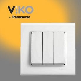 Выключатель трехклавишный VIKO Linnera белый