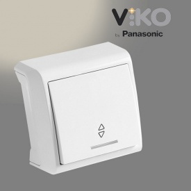 Переключатель проходной с подсветкой VIKO Vera белый