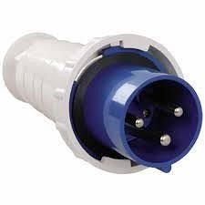Вилка переносная 033 63А 220-250 В 3 контакта 2P+E синий