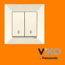 Перемикач прохідний 2-х клавішний VIKO Meridian білий