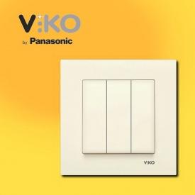 Выключатель 3-х клавишный VIKO Karre крем