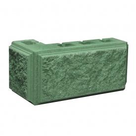 Блок Західтрансбуд Колотый камень угловой 390х190х95х90 мм зеленый