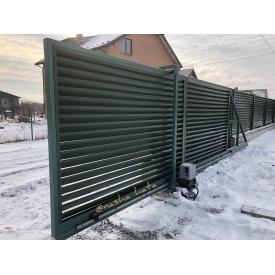 Ворота откатные Наша-Хата наполнение жалюзи 0,5 мм