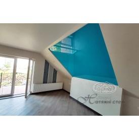 Натяжной потолок глянцевый 0,17 мм голубой